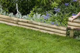 horizontal log edging forest garden