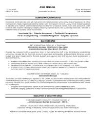 Example Administration Manager Resume Free Sample Career Profile