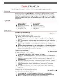 public relations sample resume pr manager sample resume for a public relations monster com template