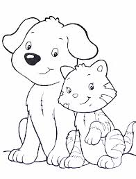 Small Picture Free Coloring Media Gallery One Dog And Cat Coloring Pages at