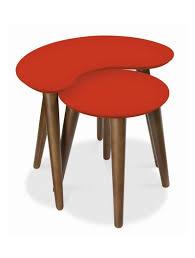 bentley designs oslo walnut orange nest of tables