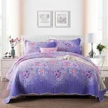 Purple quilted bedspread online shopping-the world largest purple ... & CHAUSUB Quality Summer Quilt Set 3PCS Purple Cotton Quilts Quilted Bedspread  Bed Cover Sheets Pillowcase Coverlet Adamdwight.com