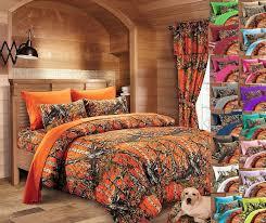 details about 7 pc queen orange camo bedding set comforter sheet bed camouflage microfiber