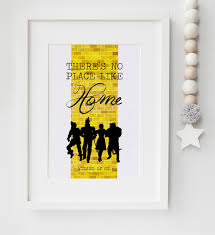 the wizard of oz there s no place like home yellow brick road quote print keepsake picture wall art gift on wizard of oz wall art with the wizard of oz there s no place like home yellow brick road quote