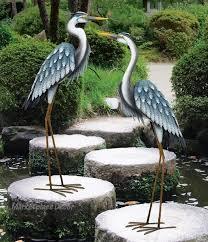 blue heron coastal metal garden statue
