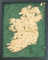 Nautical Wood Charts Ireland 3 D Nautical Wood Chart 16 X 20