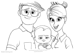 Boss Baby Coloring Pages With Parents Free Printable Coloring Pages