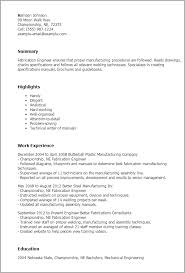 Resume Templates: Fabrication Engineer
