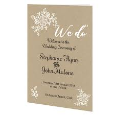 Wedding Ceremony Brochure Rustic Lace Ceremony Booklet 24 Page Wedding Cards Direct