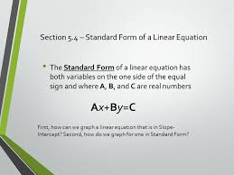 section 5 4 standard form of a linear equation