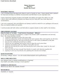 Food Service Skills Resume Food Service Assistant Cv Example Icover Org Uk