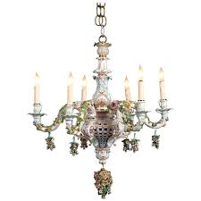 meissen porcelain six light rococo style chandelier