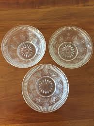 3 mid century pattern glass bowls small pressed glass custard cup or dessert dish gs and leaves pattern plus starburst design