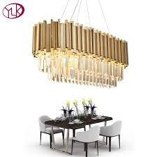 youlaike luxury modern crystal chandelier for dining room rectangle luxury living room hanging gold led crystal