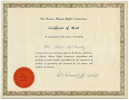 Ontario Human Rights Commission Certificate Of Merit For Mr Alvin