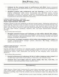 Construction Superintendent Resume Free Resume Templates 2018