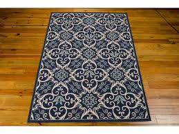 caribbean rectangular ivory navy area rug