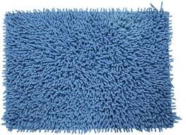 castle hill 100 cotton chenille gy bath rug with spray latex backing 20x30 medium blue