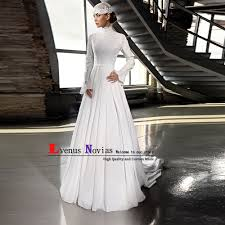 Elegant Arabic Islamic Hijab Wedding Dress 2019 Robe Mariage High Neck Lace Beaded Long Sleeve Muslim Wedding Dresses Bruidsjurk