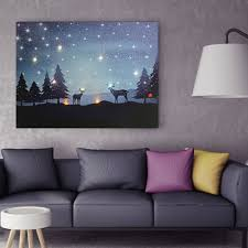 Canvas Christmas Prints With Led Lights Led Light Up Christmas Reindeer Canvas Print Picture Wall