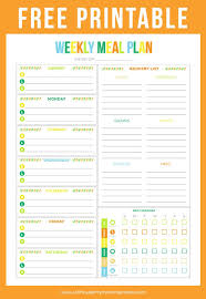 one week menu planner free printable budget sheet weekly meals weekly meal planner