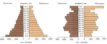 Половозрастная структура населения пирамида России География  Возрастно половые пирамиды населения России на 1987 г слева и 2006 г справа