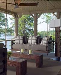 swinging porch beds - custom swinging porch bed with taupe and white  geometric pillows - Atlanta