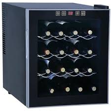 sunpentown 16 bottle thermoelectric freestanding wine cooler glass door black trim wc