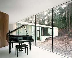 Elegant Piano In Wonderful Homes With Floor To Ceiling Glass Wall Image