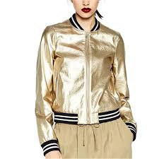 Designer Jackets Womens Us 49 05 2018 Runway Brand Designer Sliver Gold Bomber Jacket Women Basic Coats Striped Casual Jackets Outwear Jaqueta Feminina In Jackets From