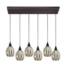 elk lighting multi light pendant light with mercury glass and 6 lights 46007