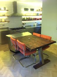 Table Diner Design Table Elm Oak Natural Stainless Steel Plank Kitchen Diner