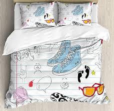 doodle duvet cover set notebook design