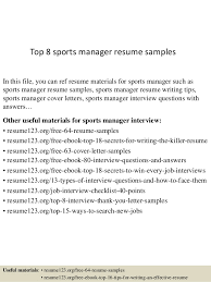 Sports Management Resume Samples Best of Top 24 Sports Manager Resume Samples