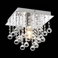 modern square chorme 1 bulb light crystal droplets ceiling chandelier lamp