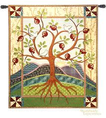 pomegranate tree of life tapestry celtic wall hanging tapestries