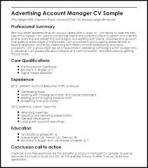 Cv For Account Manager Sales Account Executive Resume Sample Template National