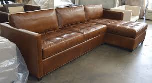 left view of the arizona leather sofa chaise sectional in italian brompton classic vintage leather