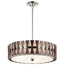 Drum Pendant Lighting Uk Cirus Drum Pendant Or Semi Flush Fitting Ceiling Light With Dark Wooden Accents