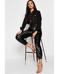 boohoo black pu cargo leather look pants