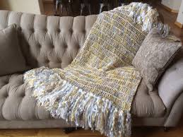 Yellow And Gray Throw Blanket
