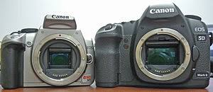 an aps c format dslr left and a full frame dslr right show the difference in the size of the sensors