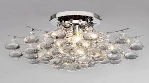 loco chrome finish crystal chandelier with 3 lights mini style flush mount you