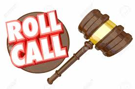 attendance roll roll call gavel vote members voting attendance 3d illustration stock