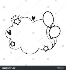 Black And White Greeting Card Black White Vector Border Birthday Party Stock Vector Royalty Free