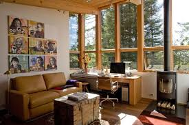 Cottage office Industrial Modern Modern Cottage Design Artistic Modern Cottage Home Office Design Idea With Brown Leather Sectional Sofa And Wooden Table In Sebastopol Residence Homechoc Modern Cottage Design Artistic Modern Cottage Home Office Design
