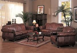 ... Living Room Sofas And Chairs Antique Brown Leather Sofa Chair Love Seat  Carpet Round ...