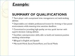 Summary Of Qualifications Resume Best Summary Of Qualifications For Resume Generalresumeorg