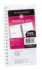Amazon Com At A Glance Weekly Planner Compact Refill 2015