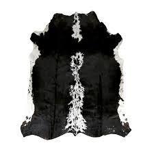 bold and modern black cowhide rug solid xl imports large
